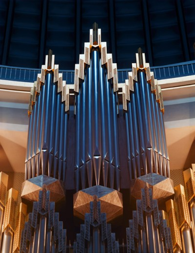 Low angle view of pipe organs in a church, St. Hedwig's Cathedral, Berlin, Germany : Stock Photo