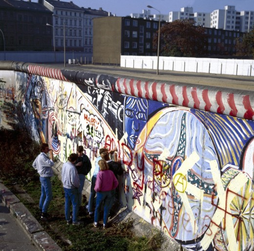 High angle view of a group of people standing near a wall, Berlin Wall, Berlin, Germany : Stock Photo