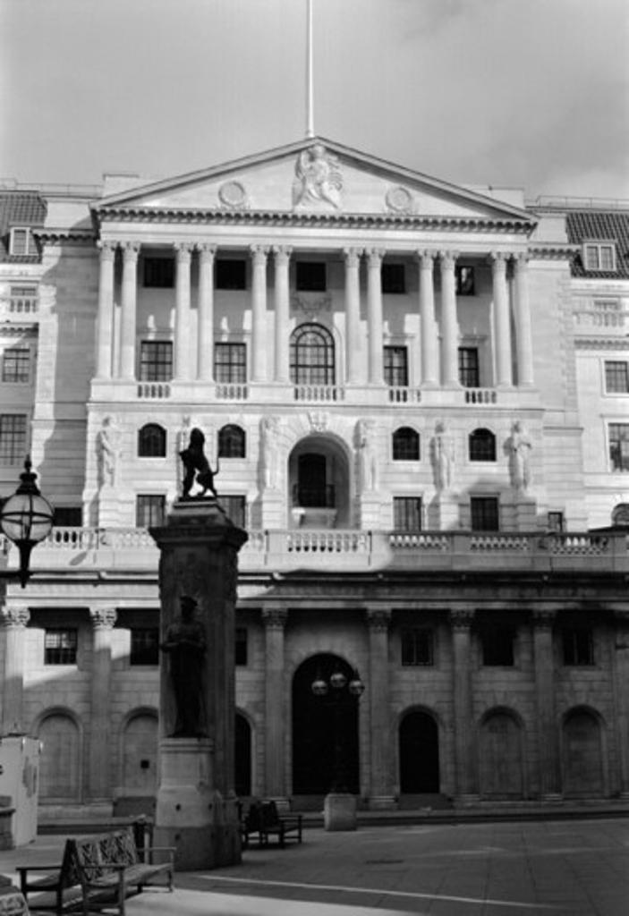 Facade of a bank, Bank of England, London, England : Stock Photo
