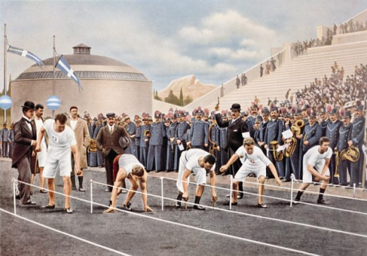 Stock Photo: 1443-688A Group of athletes preparing for a 100 meter race, 1896 Olympic Games, Athens, Greece