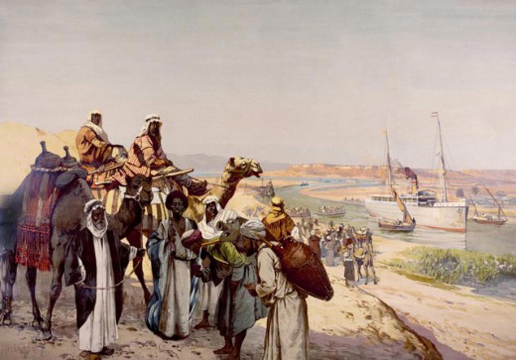 Stock Photo: 1443-734 Suez Canal  ca. 1900 Rudolf Hellgrewe (b.1860) Lithograph