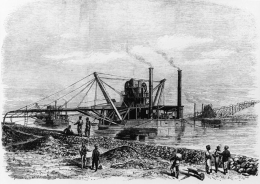 Stock Photo: 1443-736 Diggers & Conveyor Belts Used to Deepen the Suez Canal