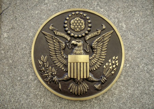 Stock Photo: 1443-794 Close-up of a the crest of the USA