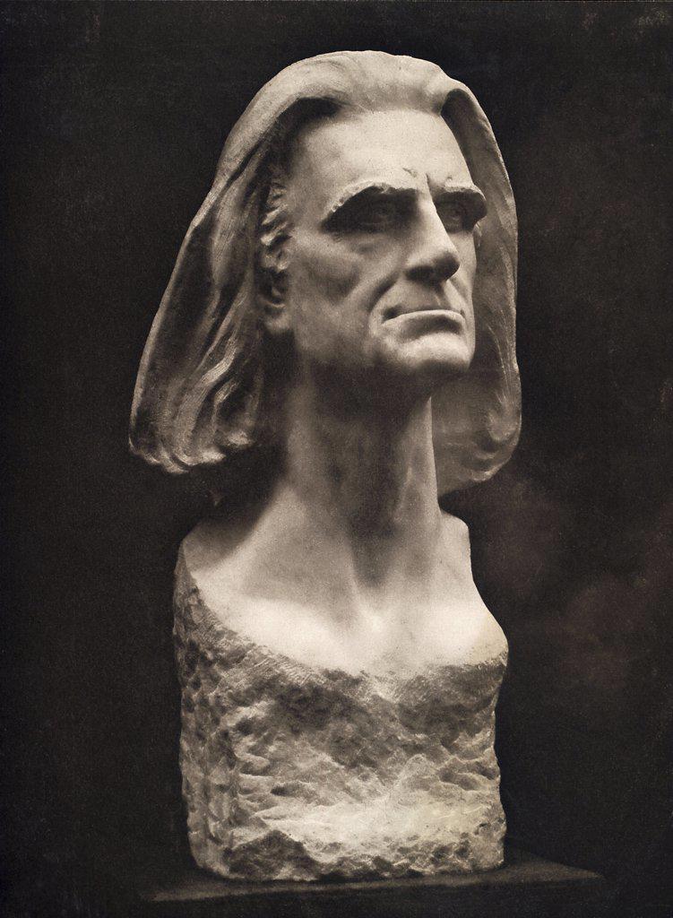 Franz Liszt Portrait Bust 1885 Max Klinger (1857-1920 German)  Marble Gewandhaus, Leipzig, Germany : Stock Photo