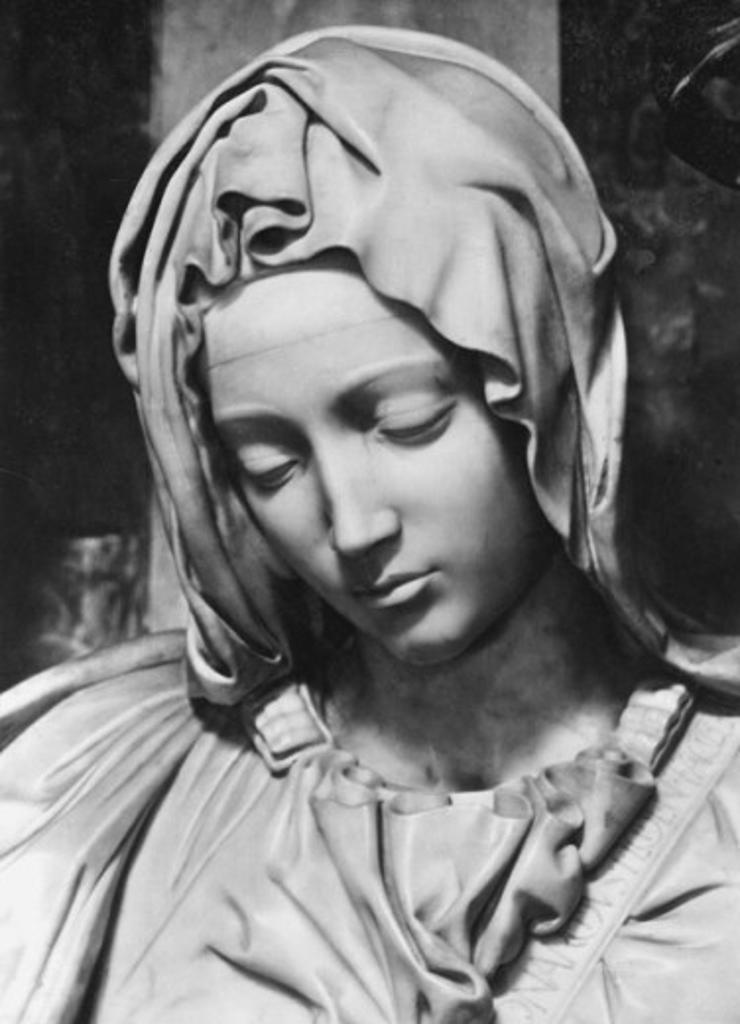 Stock Photo: 1443-861 Pieta (Detail of Mary)  1498-99 Michelangelo Buonarroti (1475-1564 Italian)  Marble St. Peter's Basilica, Vatican City