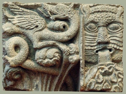 Stock Photo: 1443-891 Capital Fragment    Early 12th Century Artist Unknown  Steatite Trondheim Cathedral, Norway