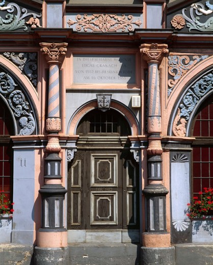 Closed door of a house, Lucas Cranach House, Weimar, Germany : Stock Photo