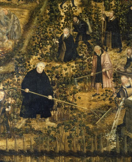 Luther in the Vineyard 1569 Lucas Cranach the Younger (1515-1586 German) Oil on wood : Stock Photo