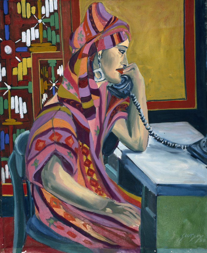 Stock Photo: 1446-418 The Conversation (or) The Exotic Woman by Erik Slutsky,  oil painting,  1987,  20th century