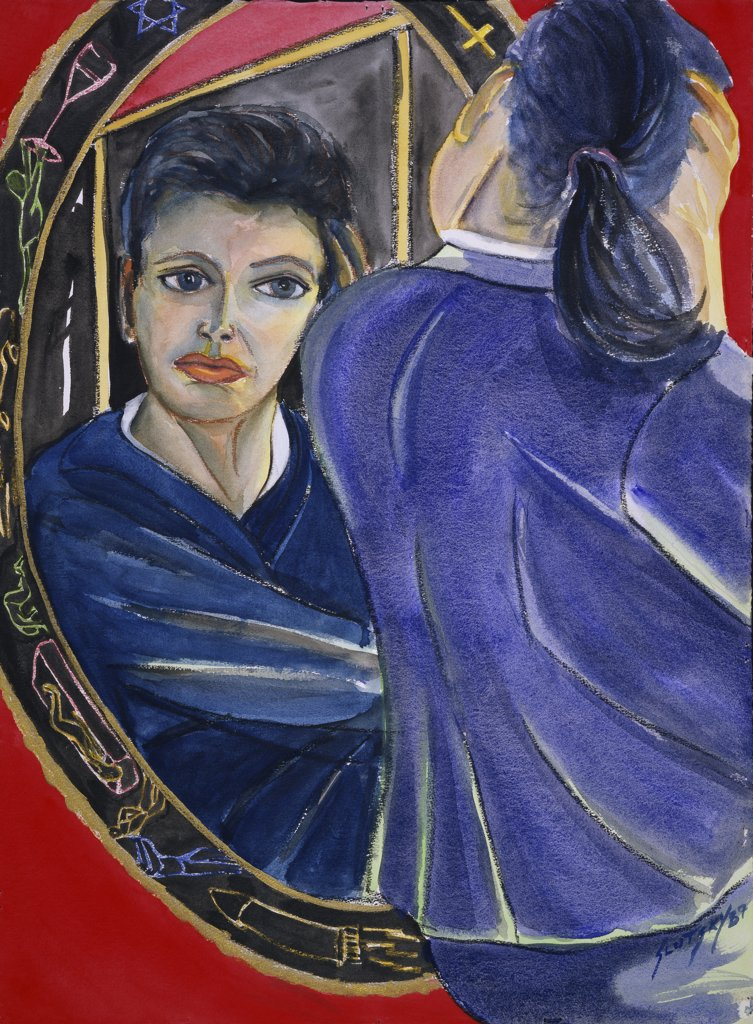 Stock Photo: 1446-436 Patricia In Front Of The Mirror 