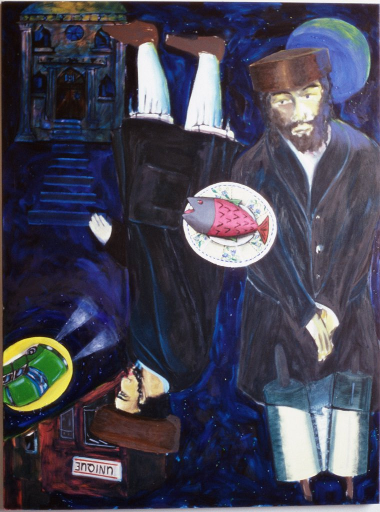 Two Hassids  2004 Erik Slutsky (20th C. Canadian) Oil on canvas : Stock Photo