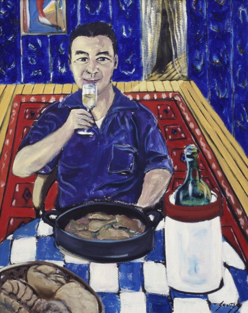 Stock Photo: 1446-456 Man with Food & Wine 