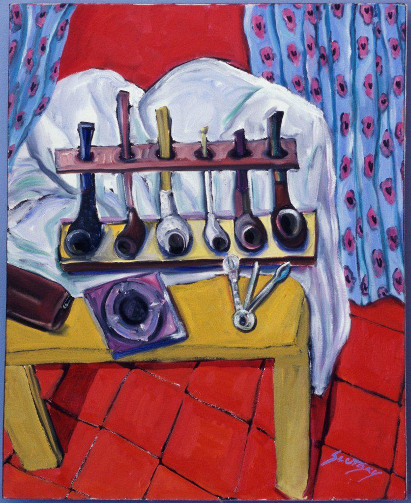 Stock Photo: 1446-457 Pipes  1999 Erik Slutsky (20th C. Canadian) Oil on canvas