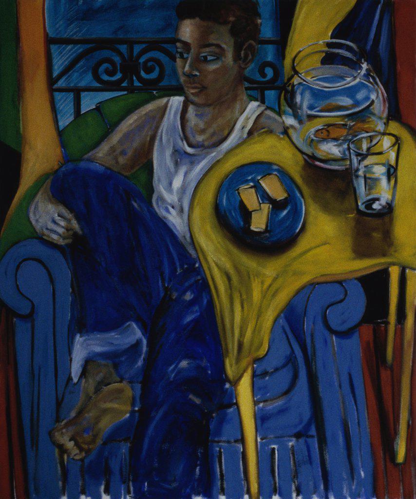 Young Achilles 2001 Erik Slutsky (20th C. Canadian) Oil On Canvas Private Collection  : Stock Photo