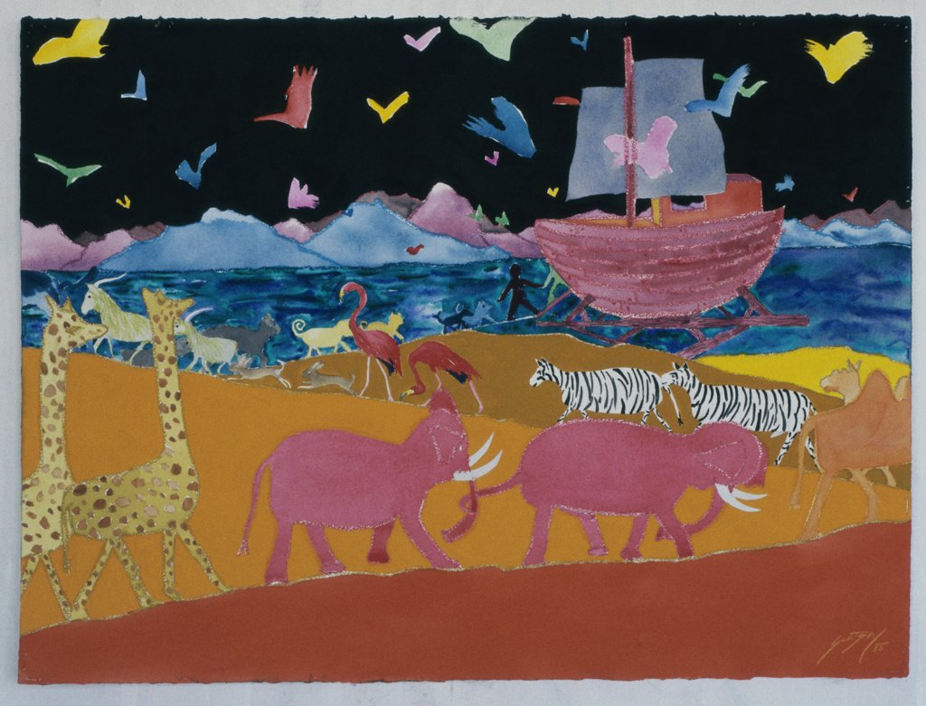 Stock Photo: 1446-470 Noah's Ark 1985 Erik Slutsky (20th C. Canadian) Mixed Media On Paper Private Collection