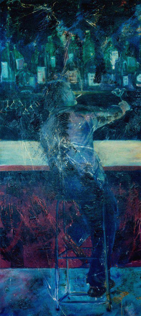 Stock Photo: 1446-477 At the Bar 1987 Erik Slutsky (20th C. Canadian) Mixed Media Canvas