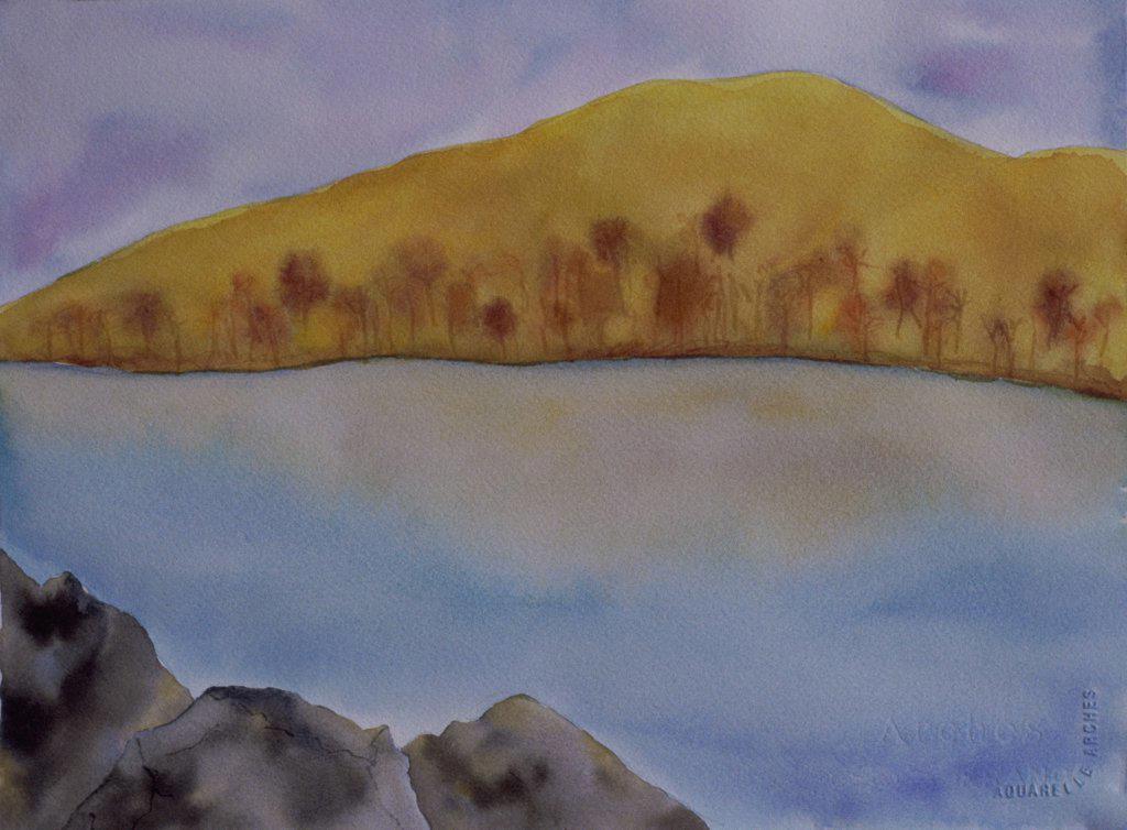 Hill & Lake in Autumn 2006 Erik Slutsky (20th C. Canadian) Watercolor on Paper : Stock Photo