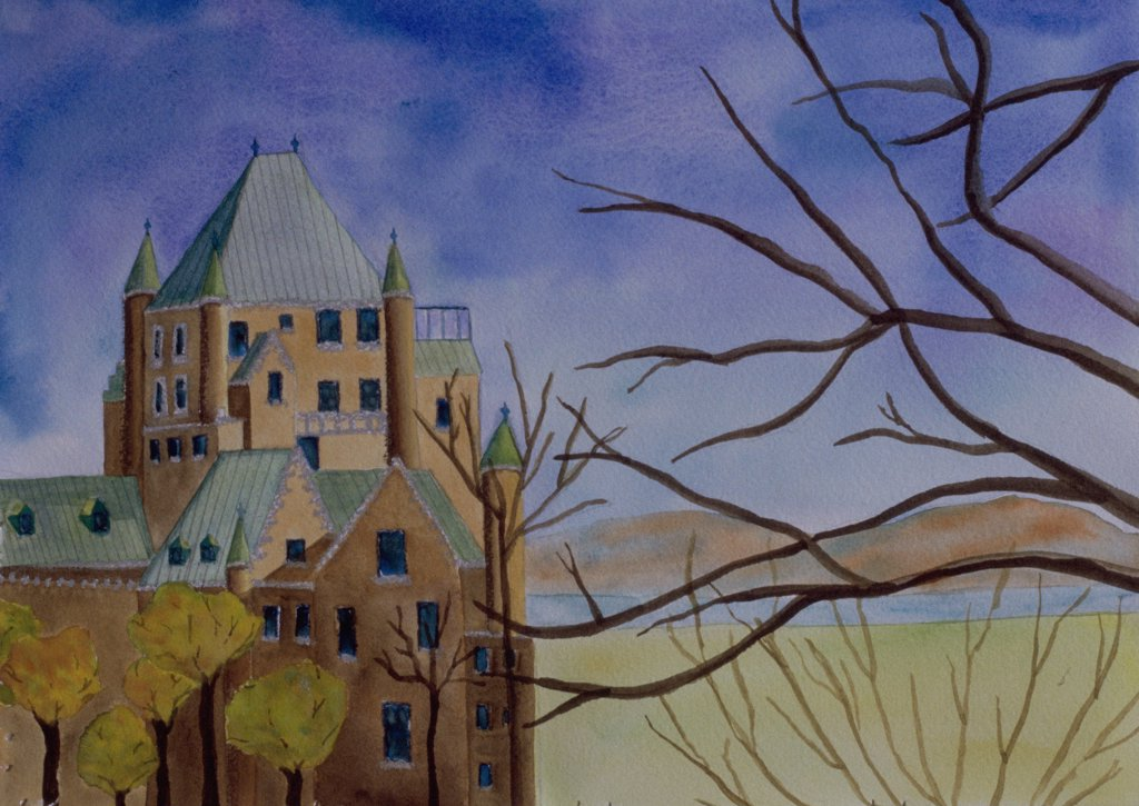 Le Chateau Trafalgar 2006 Erik Slutsky (20th C. Canadian) Mixed Media on Paper : Stock Photo