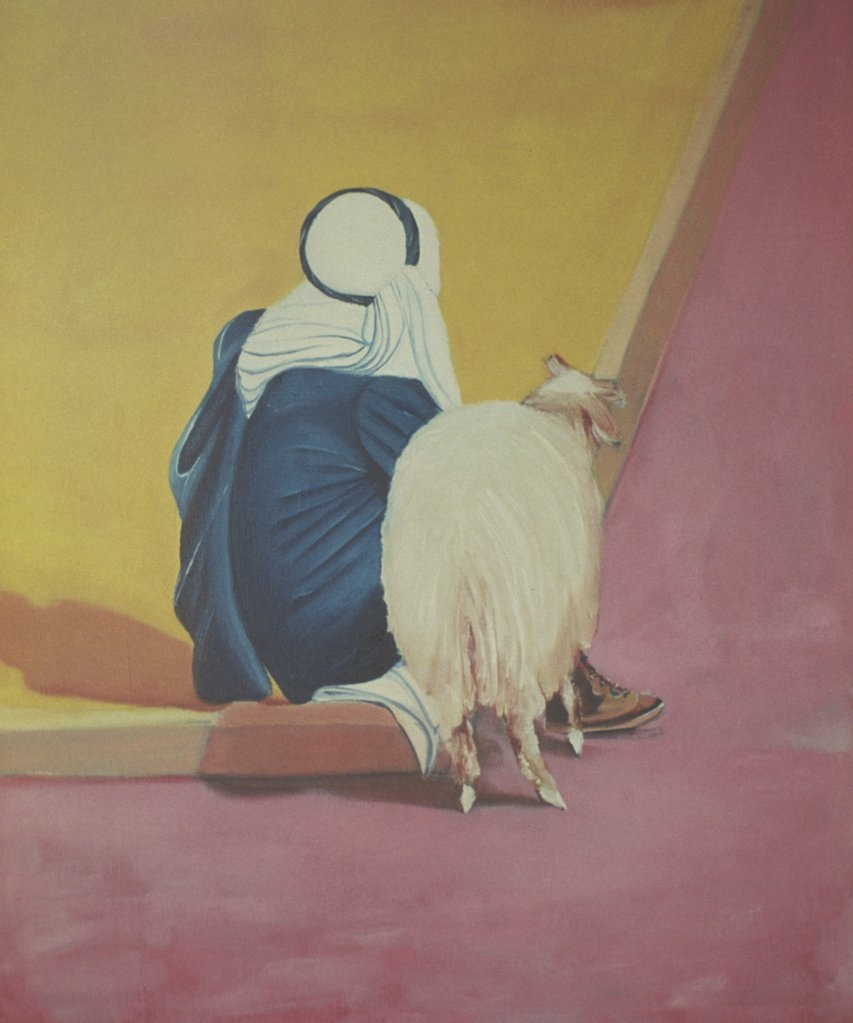 Stock Photo: 1446-482 Bedouin with Goat 1978 Erik Slutsky (20th C. Canadian) Oil on Canvas