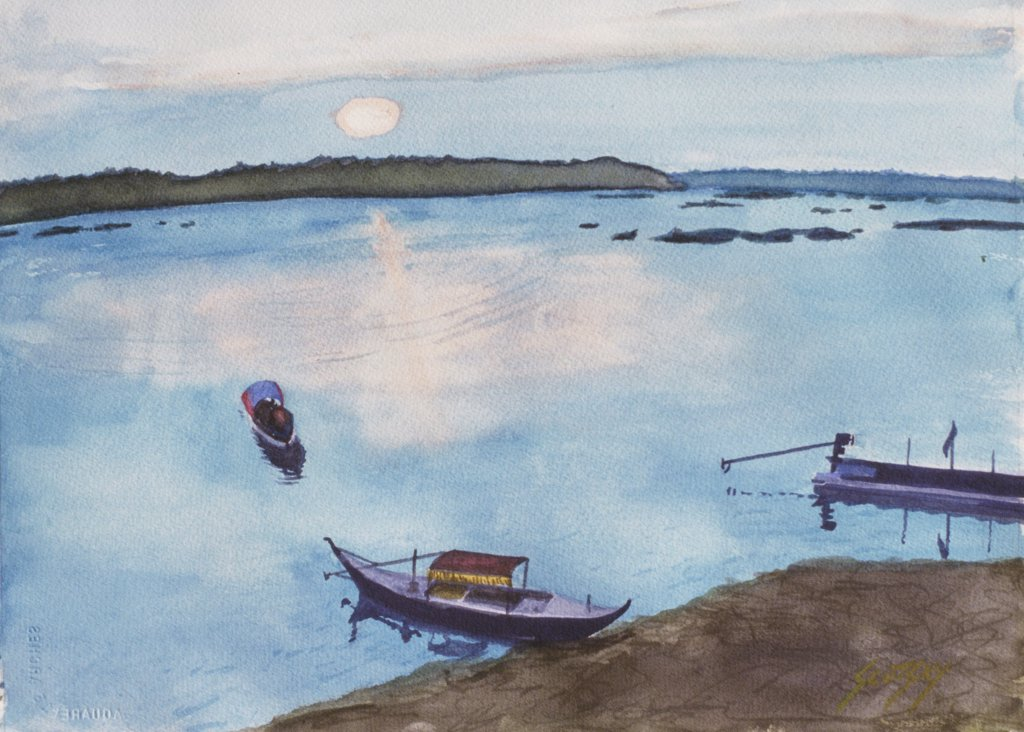 Stock Photo: 1446-490 Cambodian Fishing Boats 2006 Erik Slutsky (20th C. Canadian) Watercolor on Paper