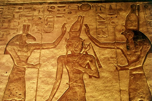 Carvings on a wall, Nefertari's Temple of Hathor, Abu Simbel, Egypt : Stock Photo