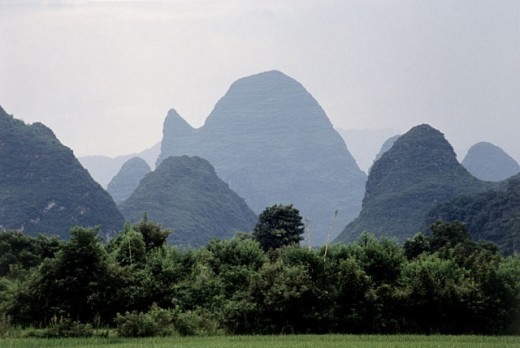 High angle view of mountains, Guilin, China : Stock Photo