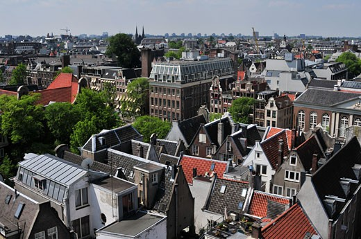 High angle view of buildings in a city, Amsterdam, Netherlands : Stock Photo
