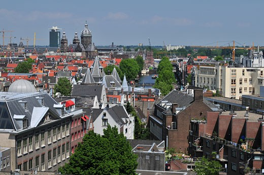 Buildings in a city, Amsterdam, Netherlands : Stock Photo