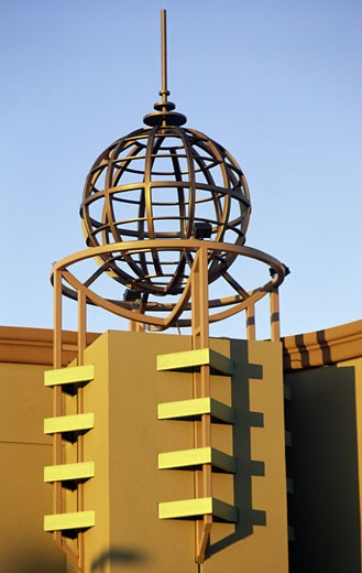 Stock Photo: 1453-154 Sculpture of a globe on a building, Santa Clara, California, USA