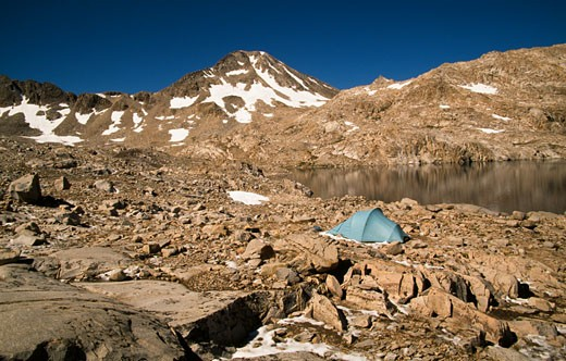 Stock Photo: 1453-375A Camping tent at the lakeside with a mountain in the background, Helen Lake, Kings Canyon National Park, California, USA