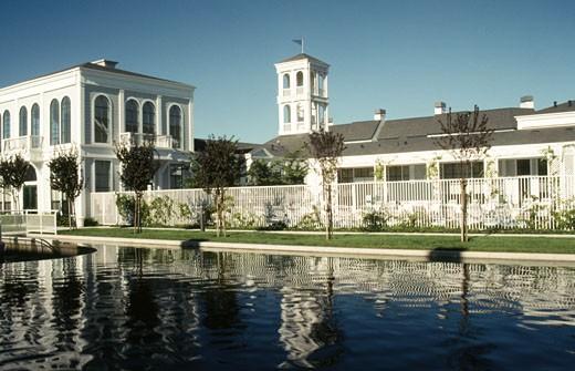 Stock Photo: 1453-396 Reflection of a building in water, San Jose, Santa Clara County, California, USA