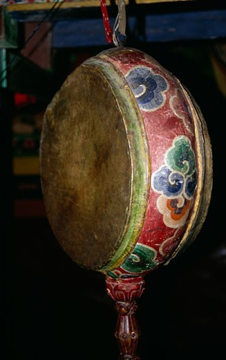 Close-up of a traditional Nepalese drum in a temple, Marpha, Mustang, Nepal : Stock Photo