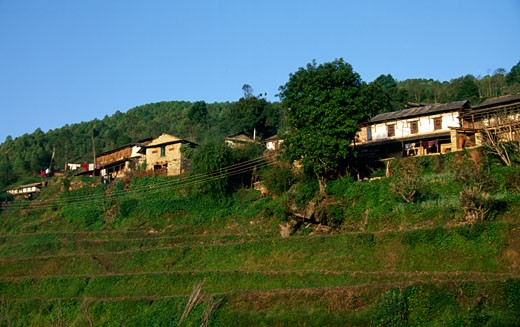Low angle view of a village, Ghandrung, Nepal : Stock Photo