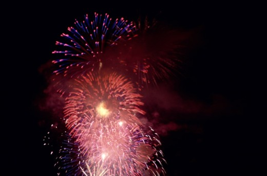 Stock Photo: 1453R-288 Fireworks display in the sky