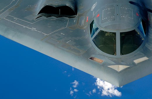 High angle view of a bomber plane in flight, B-2 Spirit, US Air Force : Stock Photo