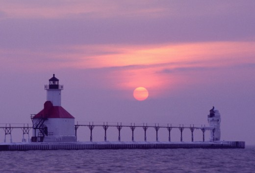 Stock Photo: 1463-155B St. Joseph North Pierhead Lighthouse