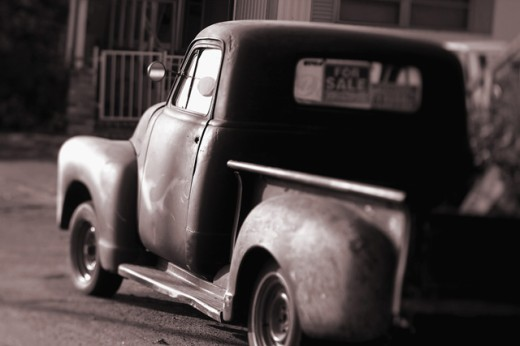 Close-up of a vintage pick-up truck : Stock Photo