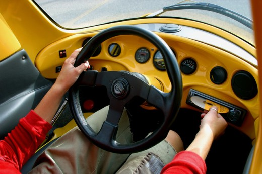 Stock Photo: 1467-1531 High angle view of a person driving a car