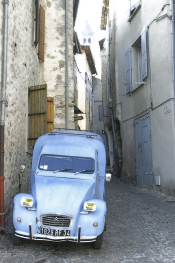 Stock Photo: 1467-1646 Car parked in a street, Olargues, France