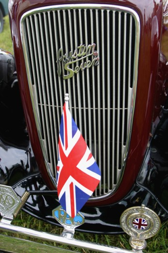 Close-up of a British flag on a car, Austin 7 : Stock Photo