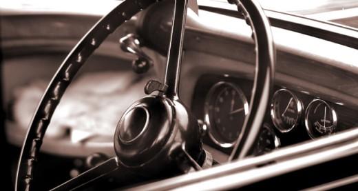 Stock Photo: 1467-2150 Interior of a vintage car