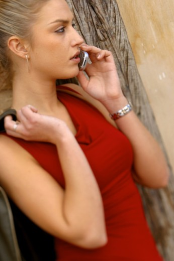Stock Photo: 1467-2401 Close-up of a young woman talking on a mobile phone