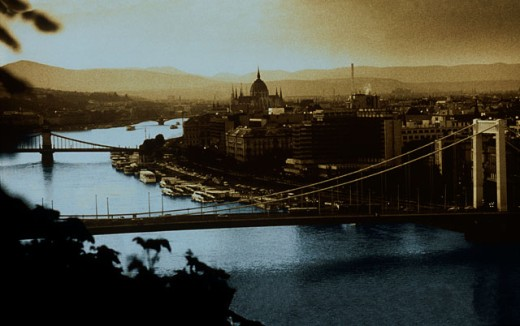 Stock Photo: 1467-568 High angle view of two bridges across a river, Danube River, Budapest, Hungary