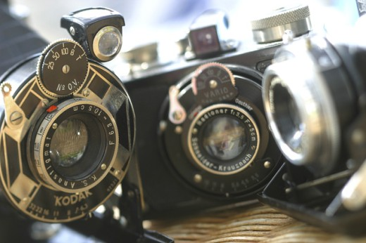 Close-up of antique cameras : Stock Photo