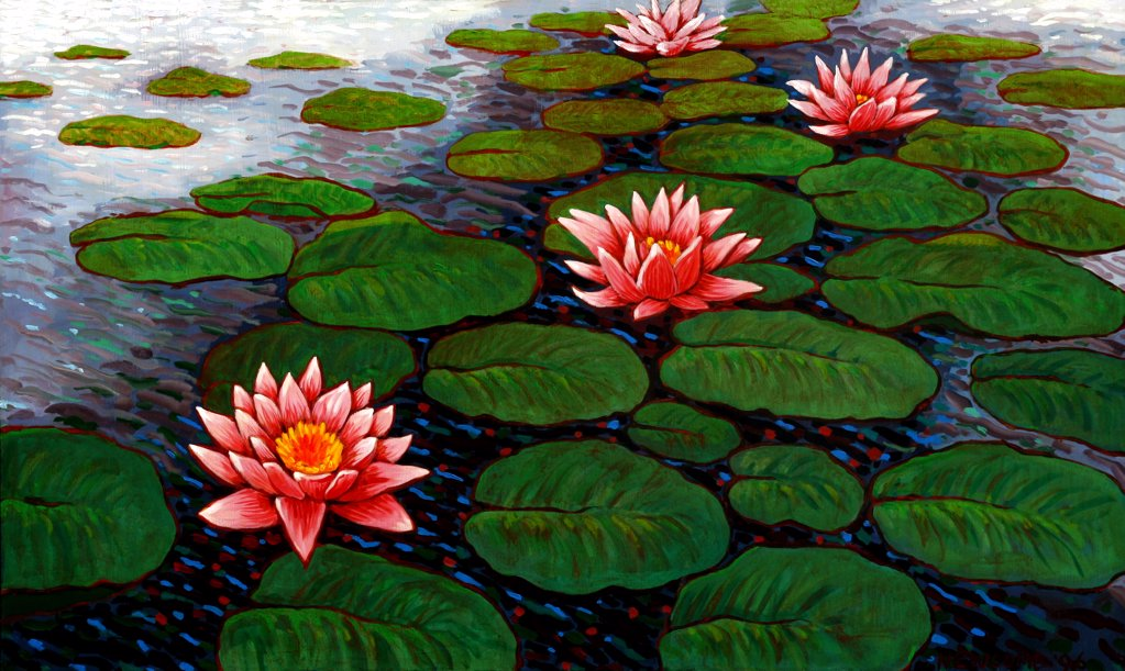 Something Under the Lily Pads, John Newcomb (21st C. American), Acrylic, 1996  : Stock Photo