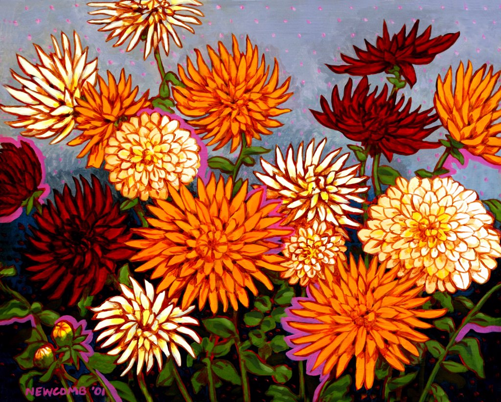 Stock Photo: 1474-132 Zinnias, John Newcomb (21st C. American), Acrylic, 2001