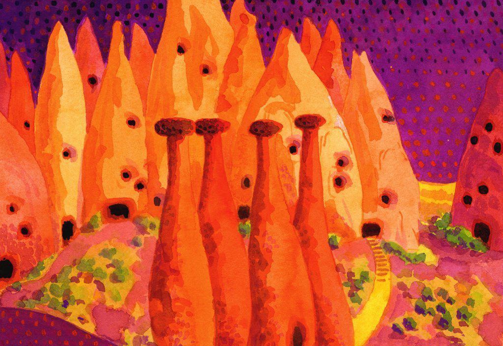 Stock Photo: 1474-183 Cappadocian Caves, Turkey, John Newcomb (21st C. American), Watercolor, 2002