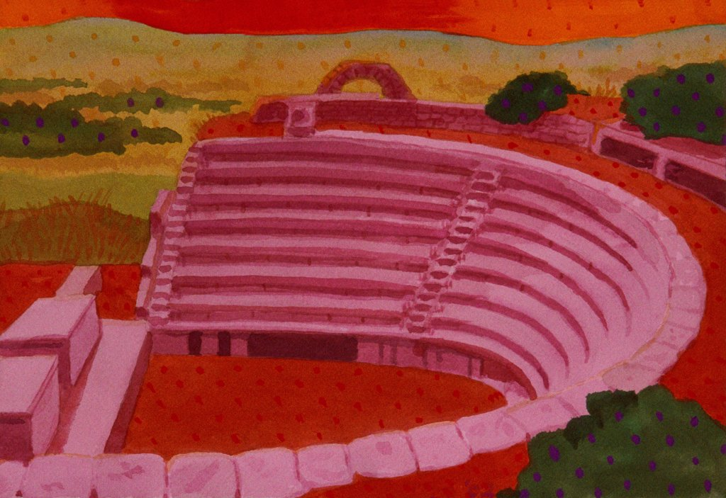 Stock Photo: 1474-184 Greek Theater, Turkey, John Newcomb (21st C. American), Watercolor, 2002