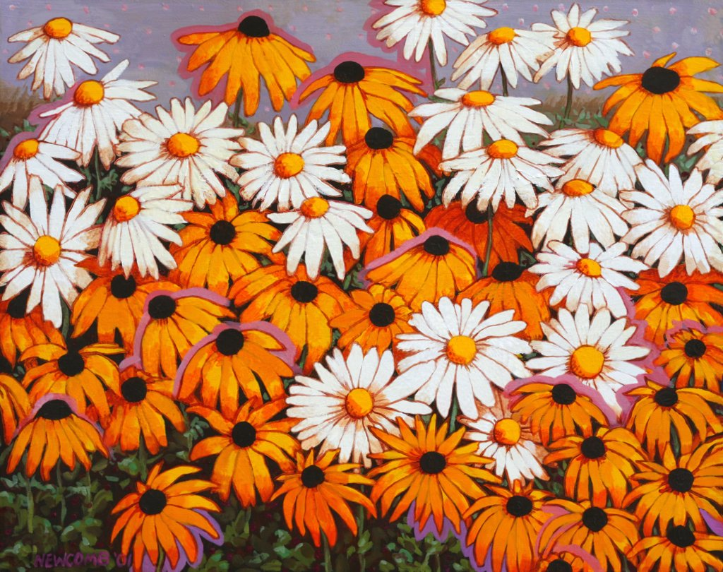 Stock Photo: 1474-190 Daisies, John Newcomb (21st C. American), Acrylic, 2001