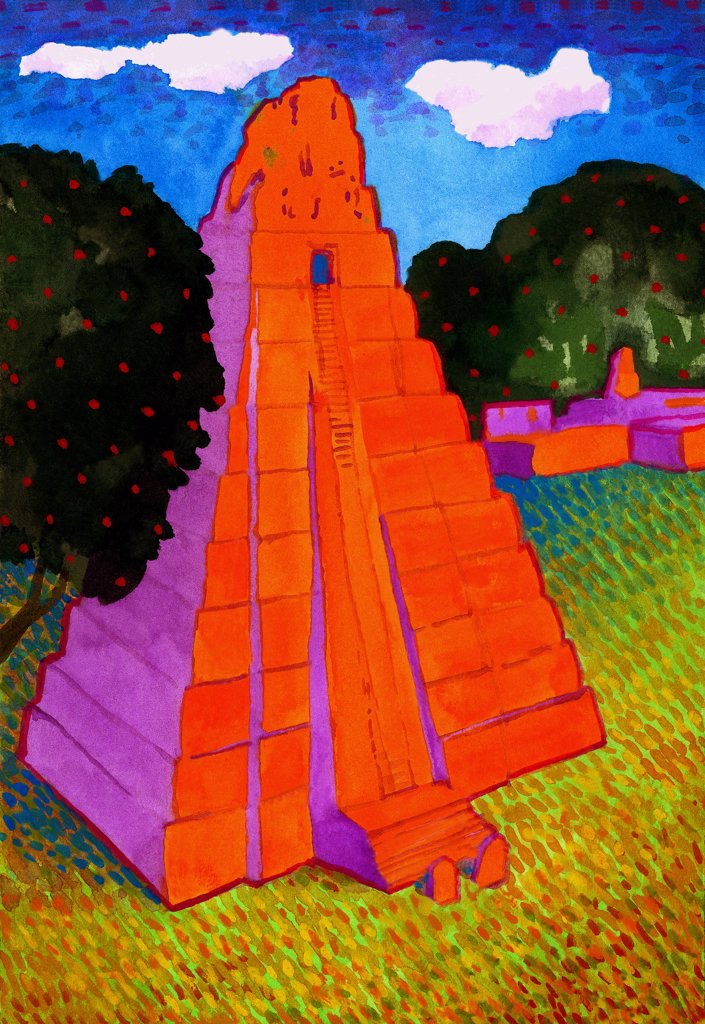 Temple of the Jaguar, Tikal, John Newcomb (21st C. American), Watercolor, 2004 : Stock Photo